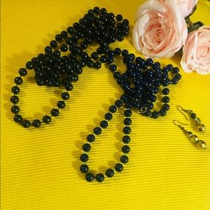 Black & Blue 2 Long Necklaces & two toned earrings